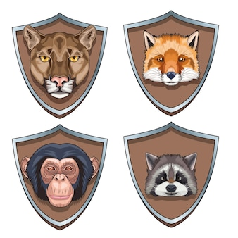 Bundle of four animals heads characters in shields  illustration