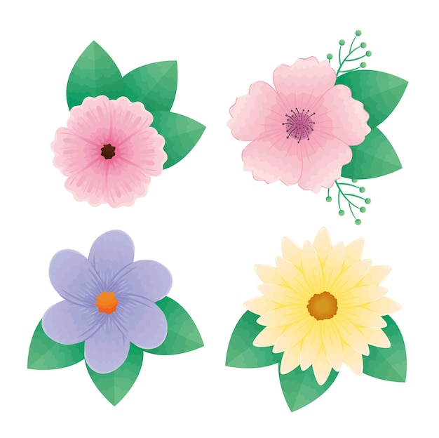 Bundle of four beautiful flowers and leafs decorative icons design