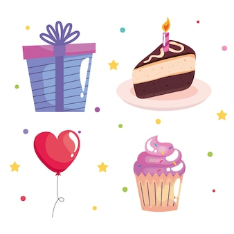 Bundle of four birthday celebration icons set