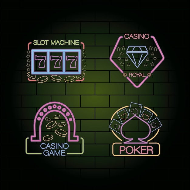 Bundle of four casino neon lights labels in wall