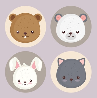 Bundle of four cute animals head set icons  illustration design
