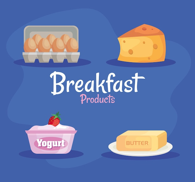 Bundle of four delicious breakfast product set