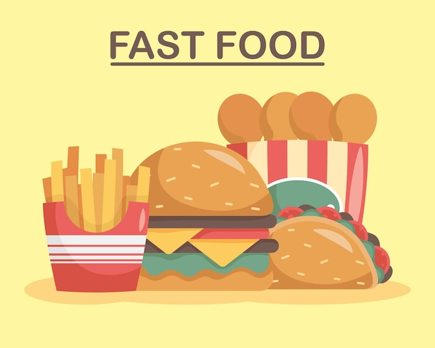 Bundle of four fast food set icons and lettering