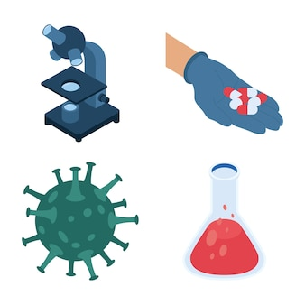 Bundle of four isometric vaccine set icons  illustration design