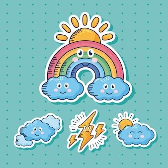 Bundle of four kawaii weather comic characters illustration design
