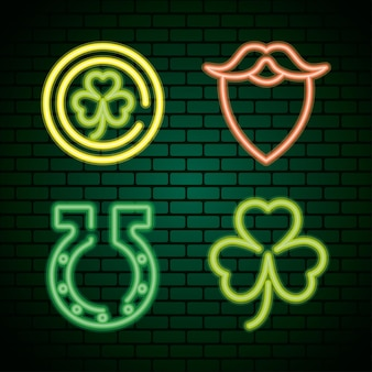 Bundle of four saint patricks day neon lights in green wall  illustration