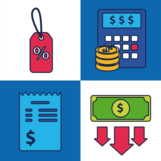 Bundle of four shopping set collection icons