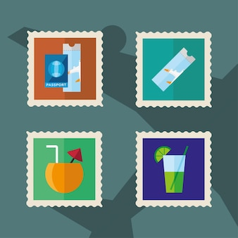 Bundle of four vacations set stamps icons