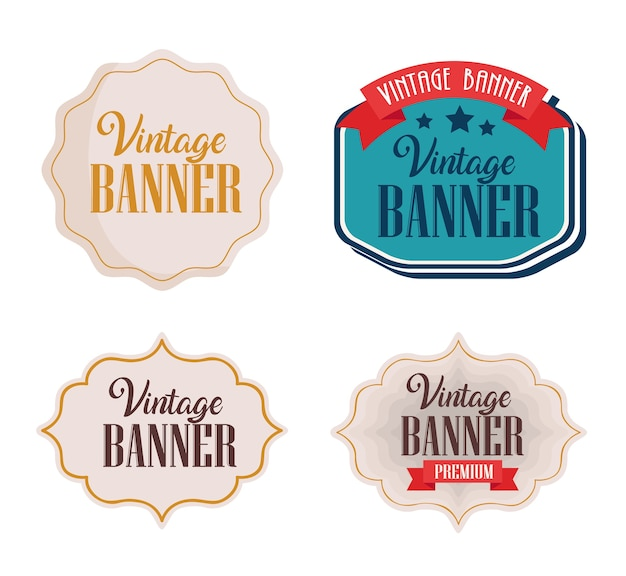 Bundle of four vintage banners with frames design