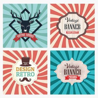 Bundle of four vintage banners with sunburst retro background design