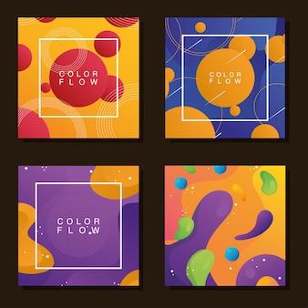 Bundle of four vivid flow backgrounds Premium Vector
