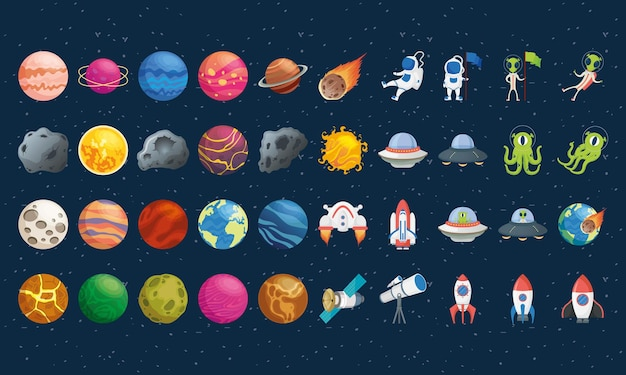 Bundle of fourty space set icons