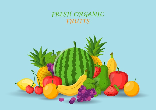 Bundle of fresh organic fruits