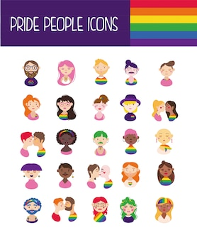 Bundle of gay pride icons and people hand draw style
