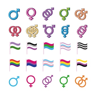 Bundle of genders symbols of sexual orientation and flags multy style icons vector illustration design