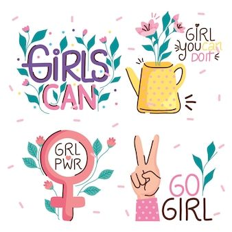 Bundle of girl power elements and letterings  illustration