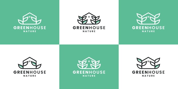 Bundle green house, nature house, leaf logo design template
