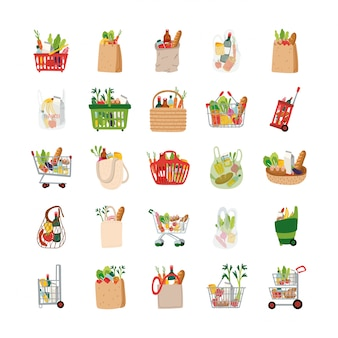 Bundle of groceries set icons