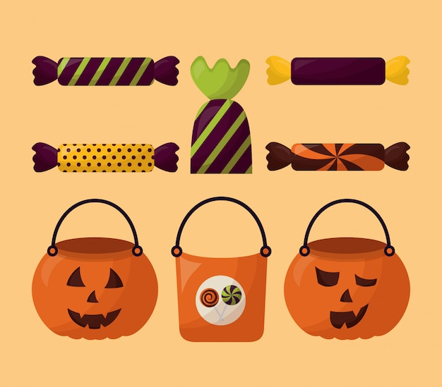 Bundle of halloween candies and pumpkins set icons