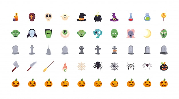 Bundle halloween with set of icons