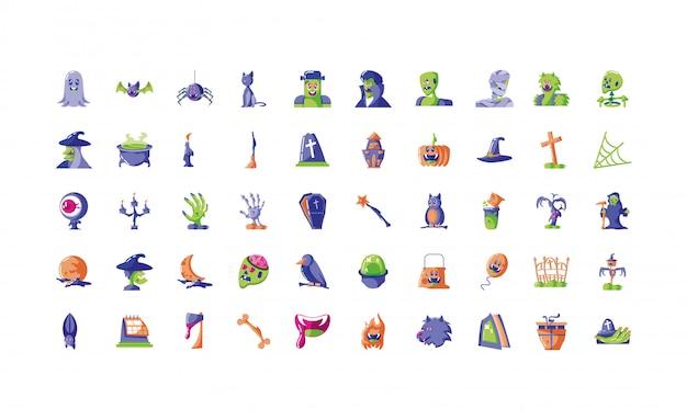 Bundle halloween with set of icons