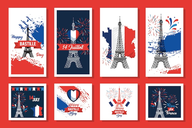 Bundle of happy bastille day and icons