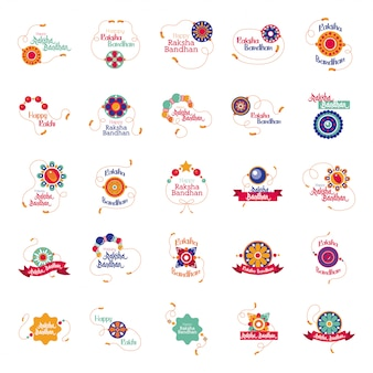 Bundle of happy raksha bandhan set icons