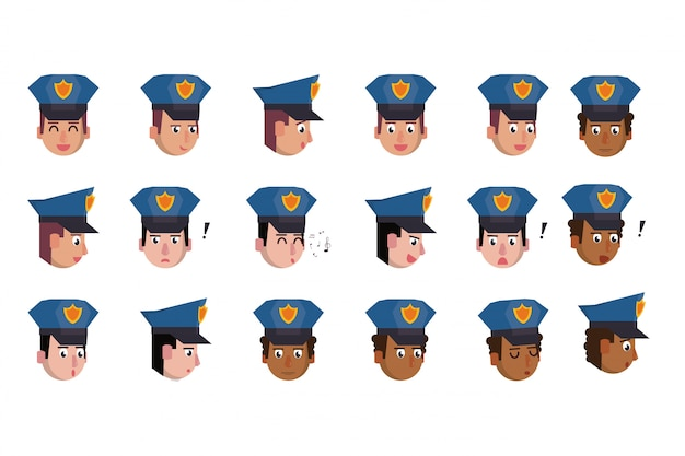 Bundle of heads police officers characters