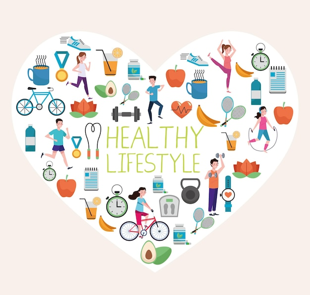 Bundle of healthy lifestyle elements set in heart