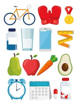 Bundle of healthy lifestyle icons