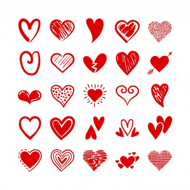 Bundle of hearts love set icons