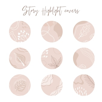 Bundle of highlights covers. modern layouts with hand drawn floral icons, organic shapes and textures. abstract backgrounds. trendy design for social media marketing.
