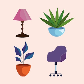 Bundle of home and office forniture set icons