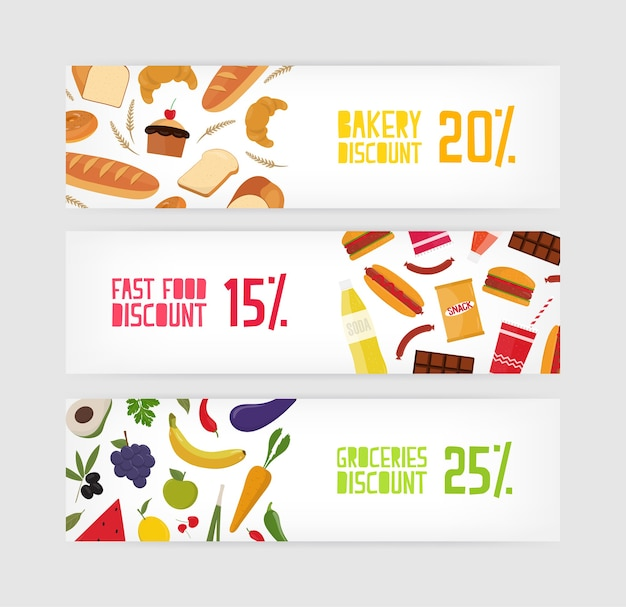 Bundle of horizontal banner templates with bakery, fast food, snacks and grocery products discount on white background