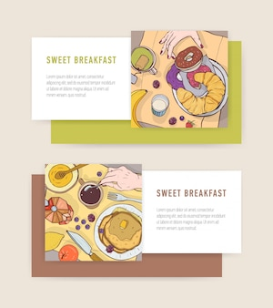 Bundle of horizontal banner templates with tasty breakfast meals or delicious morning food lying on plates and place for text. colorful illustration for cafe or restaurant advertisement.