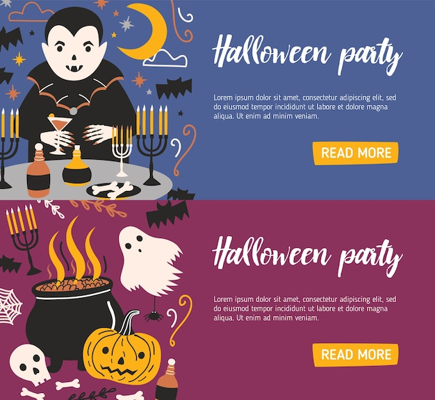 Bundle of horizontal web banner templates with vampire drinking blood from glass and other evil creatures