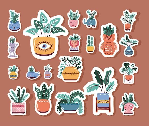 Bundle house plants in pots, scandinavian