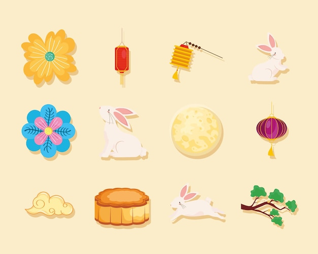 Bundle of icons chinese moon