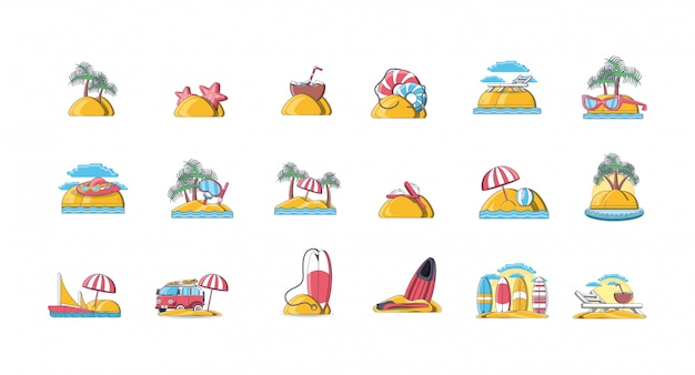 Bundle of icons summer vacations on the beach