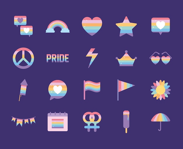 Bundle of icons with lgbtq pride colors