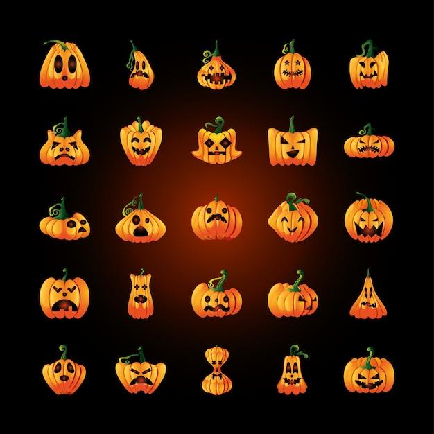 Bundle of icons with pumpkins face for halloween on black illustration design