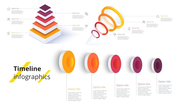 Bundle infographic elements data visualization vector design template can be used for steps busine