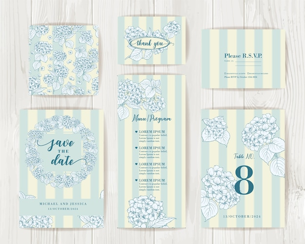 Bundle invitation design with hydrangea. collection of greeting cards.