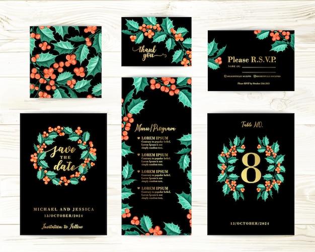 ヤドリギのバンドル招待状デザイン。グリーティングカードのコレクション。