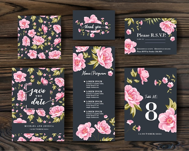 Bundle invitation design with peonies. collection of greeting cards.