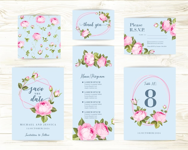 Bundle invitation design with roses. collection of greeting cards.