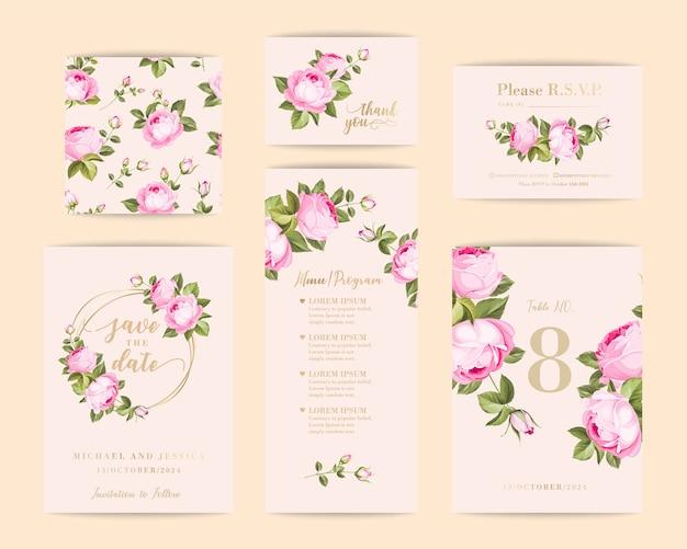 장미와 번들 초대장 디자인. 인사말 카드의 컬렉션입니다.