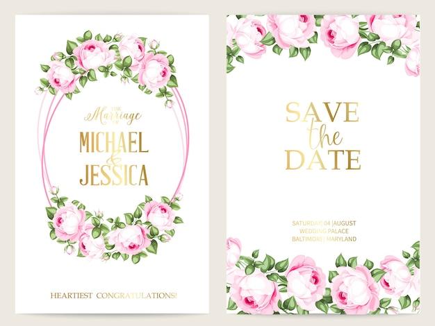 Пачка дизайна приглашения с розами. коллекция поздравительных открыток.
