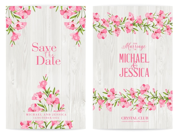 Bundle invitation design with tropical flowers and flamingos.