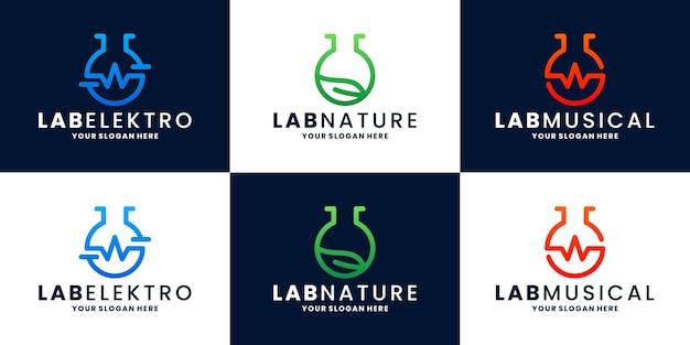 번들 실험실 전기, 자연, 음악 로고 디자인 벡터 컬렉션